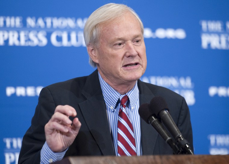 "In this June 4, 2012 file photo, Chris Matthews, host of MSNBC's ""Hardball with Chris Matthews"" delivers a National Press Club Newsmaker Luncheon address at the 25th annual Gerald R. Ford Presidential Foundation journalism awards luncheon."