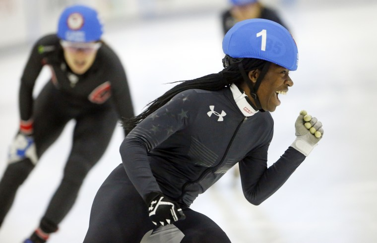 fbd6f1f2064f Maame Biney (1) celebrates after winning the women s 500-meter final A  during the U.S. Olympic short track speedskating trials Saturday