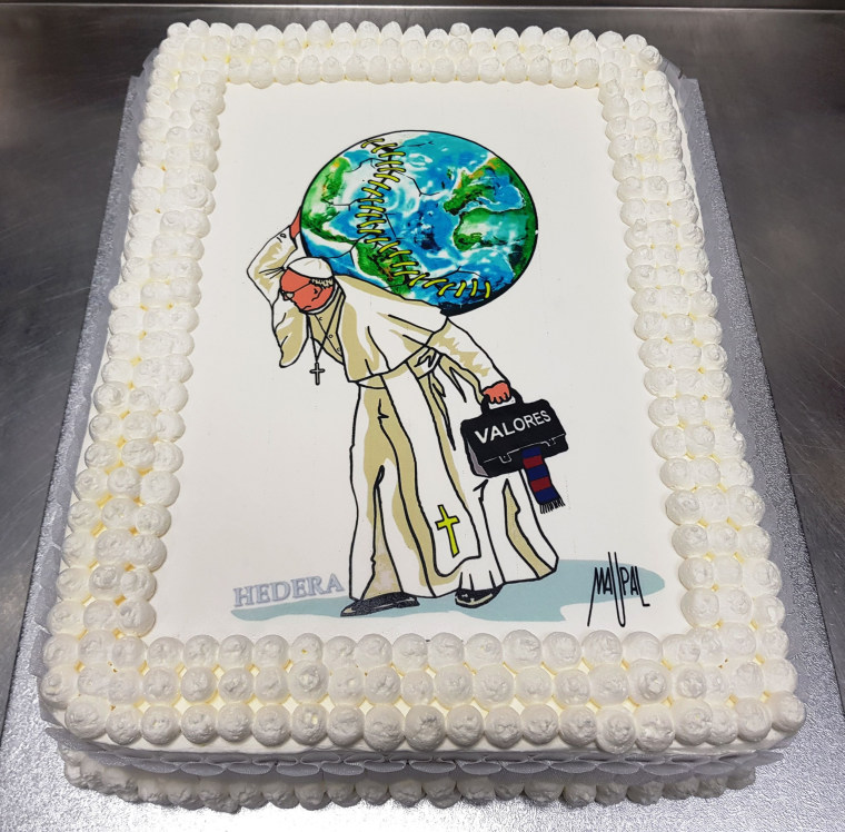 Image: This handout released by Roman pastry Hedera Sweetness and Co. shows a birthday cake offered to Pope Francis for his 81st birthday, on Dec. 17, 2017 in Rome. The cake is decorated with a drawing of Italian street artist Mauro Pallotta a.k.a Maupal.