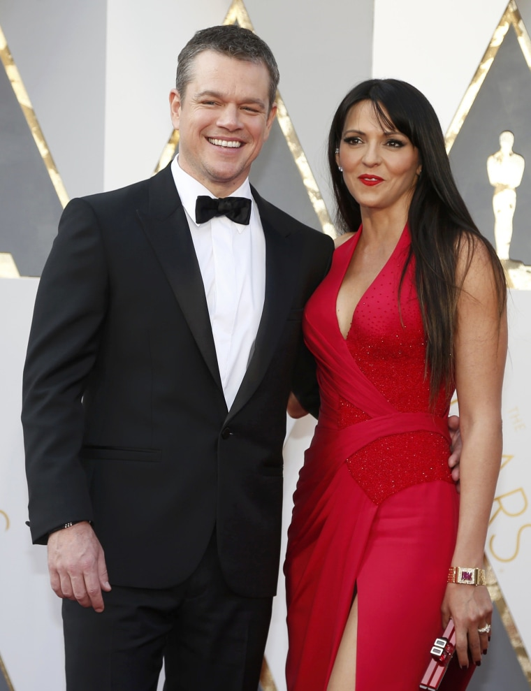 "Image: Matt Damon, nominated for Best Actor for his role in ""The Martian,"" arrives with his wife Luciana Barroso at the 88th Academy Awards in Hollywood"