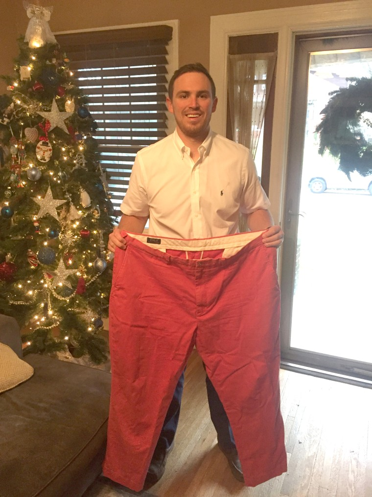 """Both Kevin and Lindsay Minnick saved """"fat clothes"""" to remind them how far they have come losing weight."""