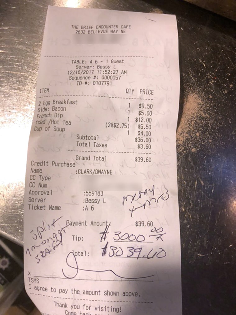 Clark left a generous tip for the staff for the holiday season.
