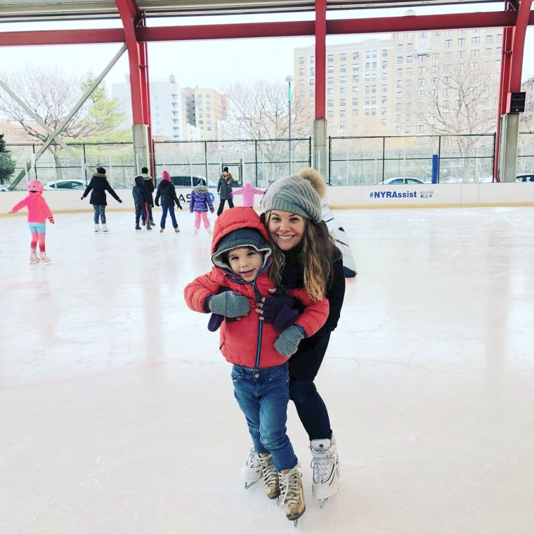 Rebecca Soffer and her son, Noah, go ice skating, a holiday tradition Rebecca used to do with her own father.