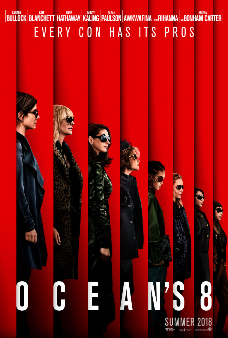 Sandra Bullock, Cate Blanchett, Rihanna, Helena Bonham Carter, Anne Hathaway, Mindy Kaling, Sarah Paulson and Awkwafin in Oceans 8