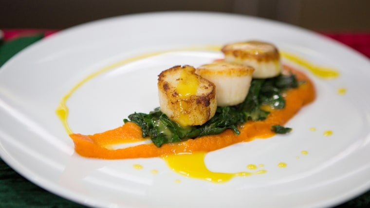 Kevin Des Chenes' Ginger-Seared Scallops with Fresh Swiss Chard, Citrus Reduction and Carrot Ginger Puree