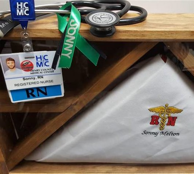 Sonny's personal items, including his identification badge for the hospital where he worked as a nurse.
