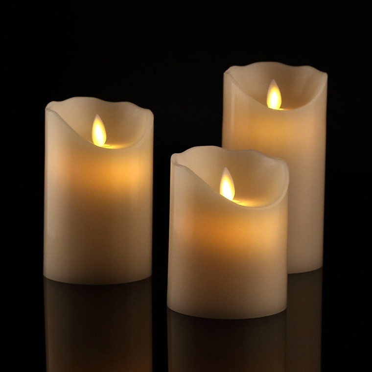 set of three off-white pillar candles