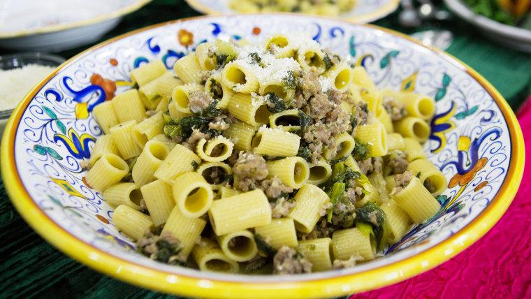 Lidia Bastianich's Mezzi Rigatoni with Sausage and Escarole