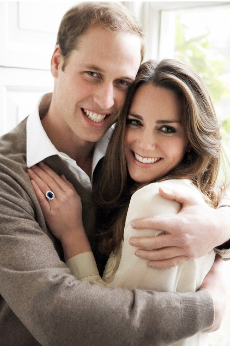 Britain's Prince William and Kate Middleton posing in one of their official engagement portraits.