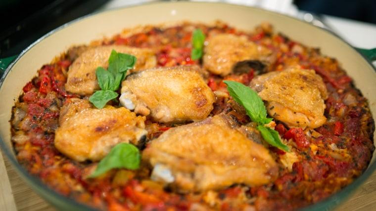Tomato Basil Chicken & Rice bake