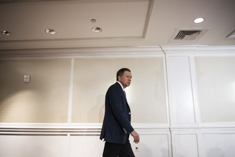 Image: Ohio Governor John Kasich arrives at a press conference on March 30, 2016 in New York City.