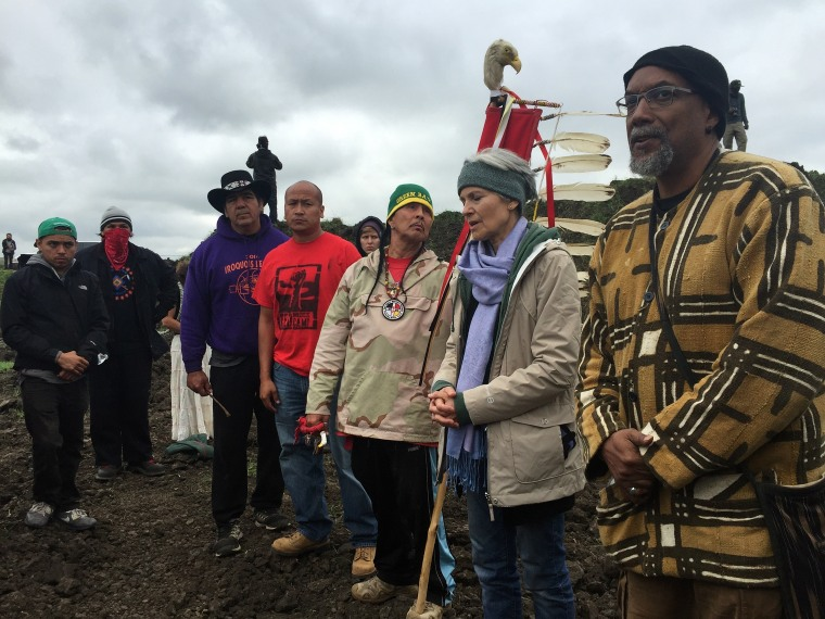 Green Party presidential candidate Jill Stein, second from right, participates in an oil pipeline protest on Sept. 6 in Morton County, North Dakota.