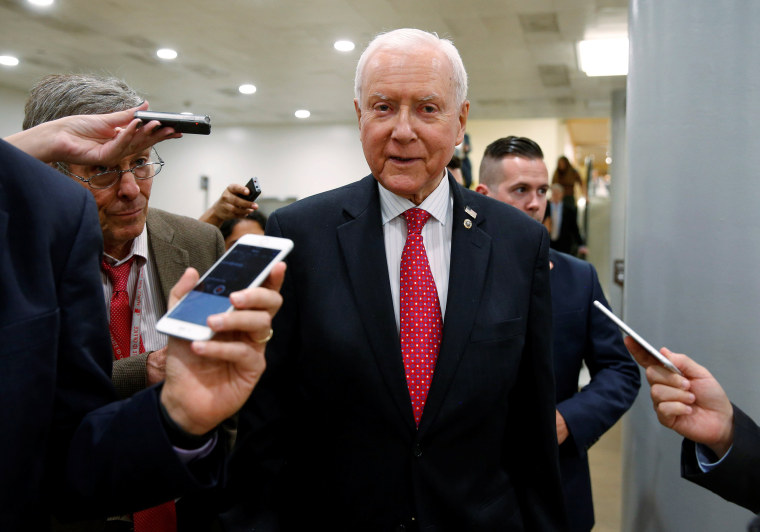 Image: Senator Orrin Hatch (R-UT) speaks to reporters after the Senate approved $15.25 billion in aid for areas affected by Hurricane Harvey in Washington