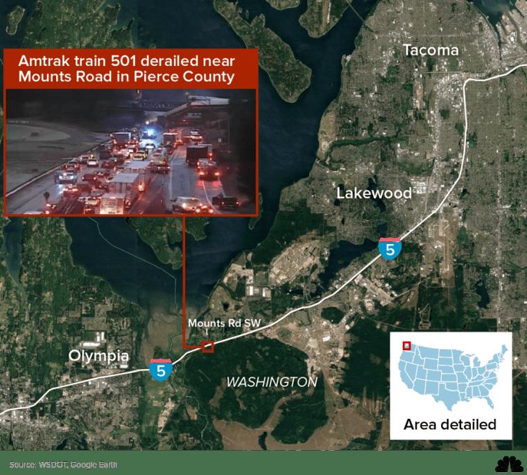 Map: Amtrak train 501 derailed near Mounts Road in Pierce County