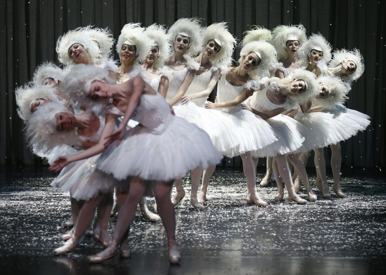 Image: Dancers from Australia's national ballet company perform on stage during a dress rehearsal of The Nutcracker at the Opera House in Sydney, New South Wales, Australia, on May 1.