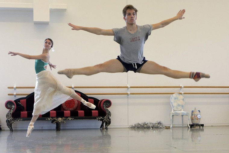 Image: Members of the Houston Ballet rehearse at their studio, in Houston in November.