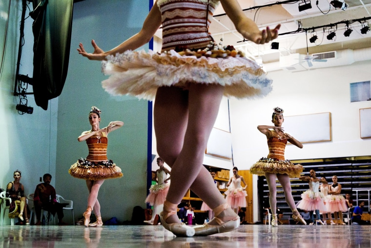 Image: Cast members rehearse at the Miami City Ballet in Miami Beach, Florida on Nov. 10. Isabel and Ruben Toledo redesigned the classic production to reflect the spirit and temperature of Miami.