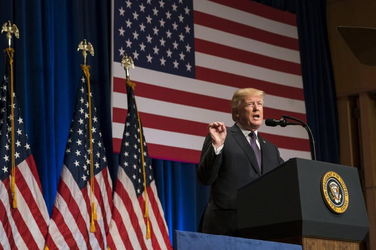 Image: U.S. President Donald J. Trump speaks on his 'America First' national security strategy in the Ronald Reagan Building and International Trade Center in Washington, DC, Dec. 18, 2017.