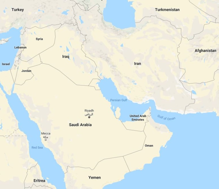 Image: Map of Saudi Arabia and Iran