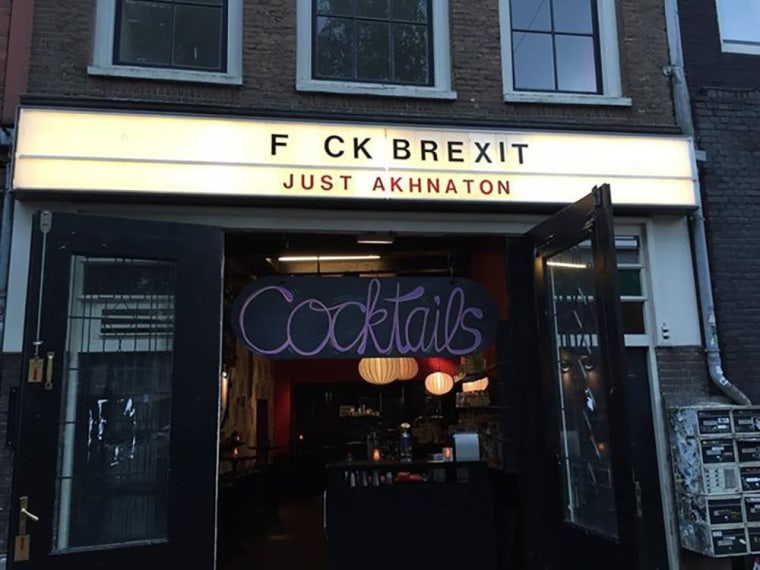 Image: An Amsterdam club's Brexit marquee