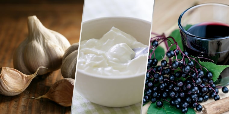 Image: Garlic, yogurt and elderberries