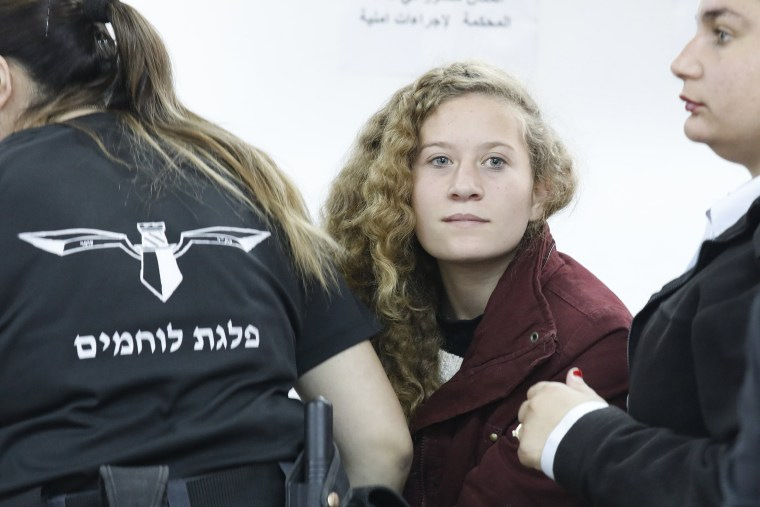 Image: 17 year old Palestinian Ahed Tamimi at Ofer military court room