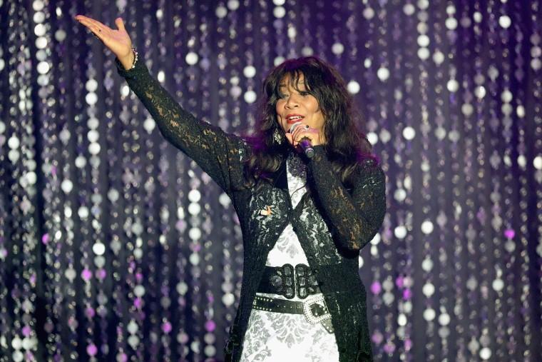 Image: Joni Sledge of Sister Sledge appears on stage