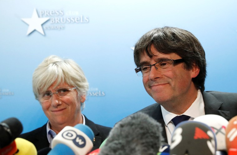 Image: Catalan leader Carles Puigdemont, former member of the Government of Catalonia Clara Ponsati