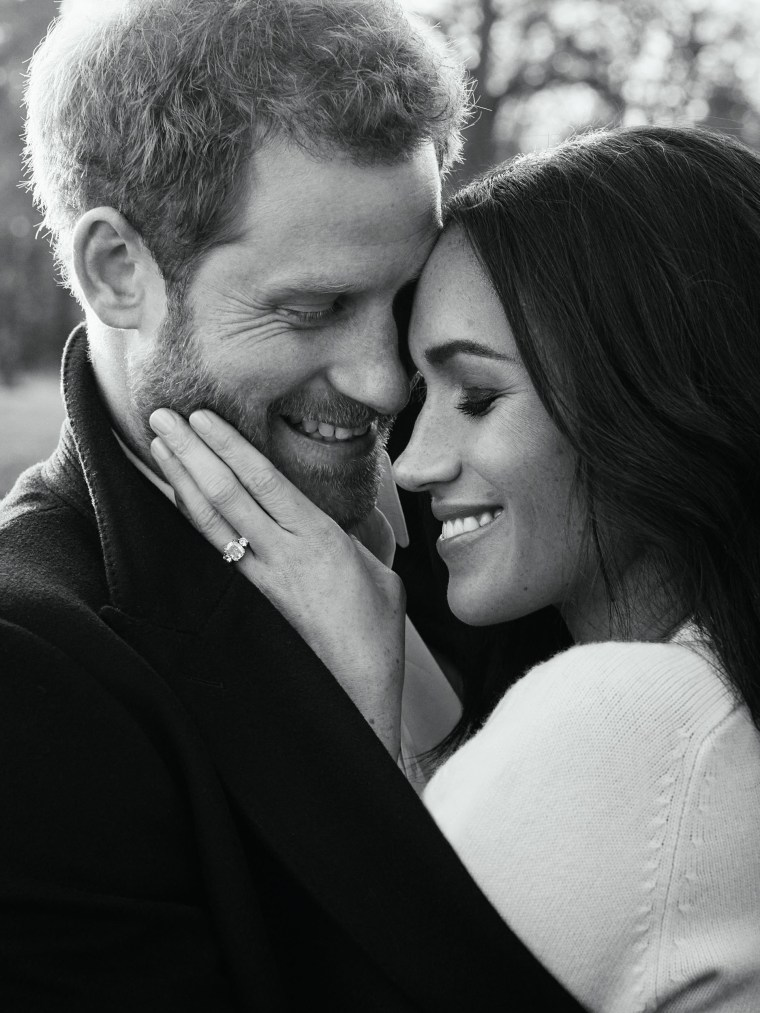 Image: Prince Harry posing with his fiancée Meghan Markle