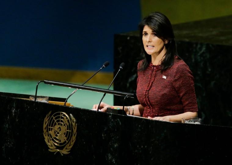 Image: United States Ambassador to the United Nations Nikki Haley addresses the General Assembly prior to a vote on Jerusalem