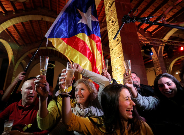 Image: FILE PHOTO: People react to results in Catalonia's regional elections at a gathering of the Catalan National Assembly (ANC) in Barcelona