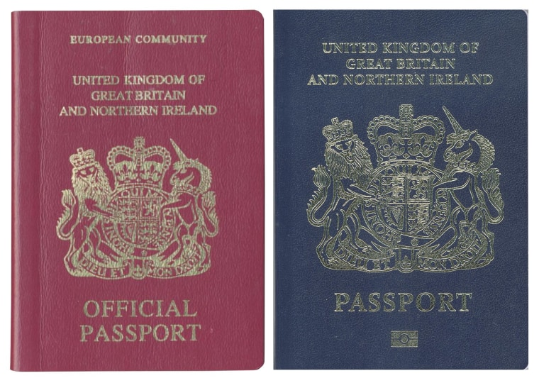 Image: The existing burgundy red UK passport (L) design will be phased out in favor of dark blue (R).