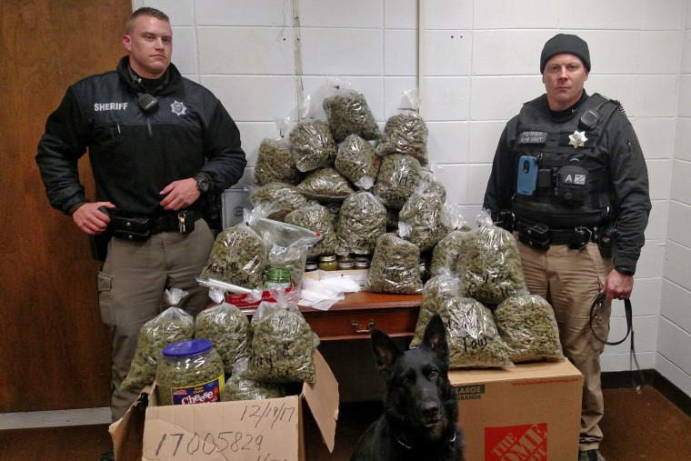 Image: Roughly 60 pounds of marijuana were found on Dec. 19, 2017 during a traffic stop initiated by the York County Sheriff's Department.