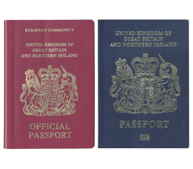 Image: A burgundy (L) and blue United Kingdom passport