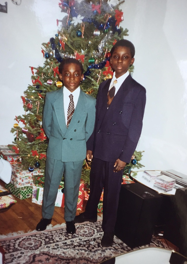 Image: Bambadjan Bamba (left) and his brother on Christmas morning in their childhood home.