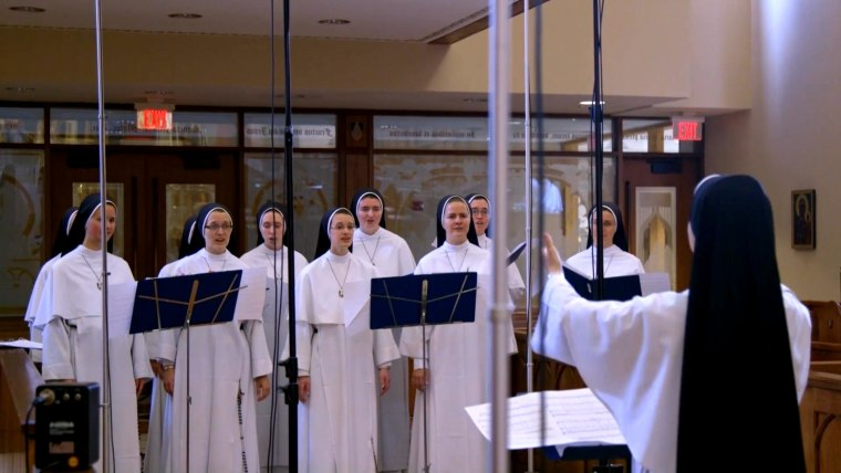 Dominican Sisters of Mary in a recording session of their new album.