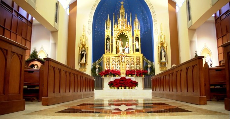 The chapel at the Dominican Sisters of Mary Motherhouse decorated for Christmas.