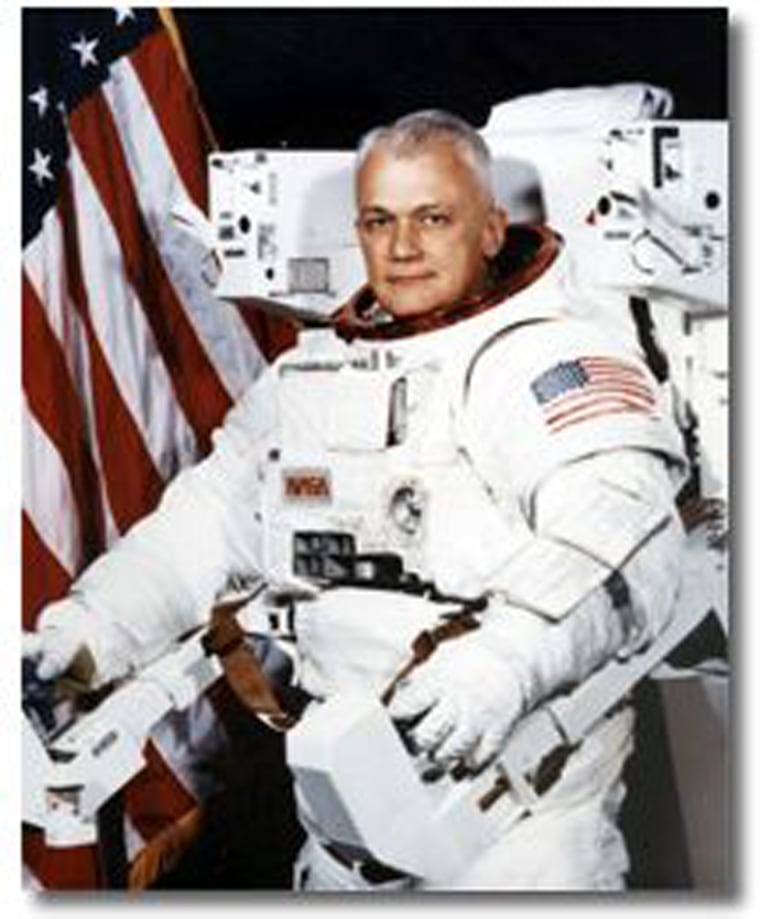 Image: This 1982 photo made available by NASA shows astronaut Bruce McCandless II, wearing a Shuttle Extravehicular Activity (EVA) Suit with Manned Maneuvering Unit (MMU) in Houston.
