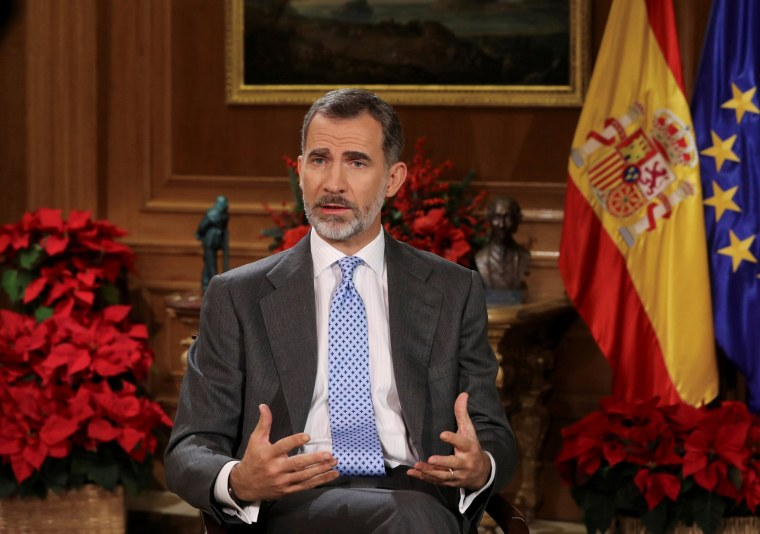 Image: Spain's King Felipe VI delivers his traditional Christmas address at Zarzuela Palace in Madrid