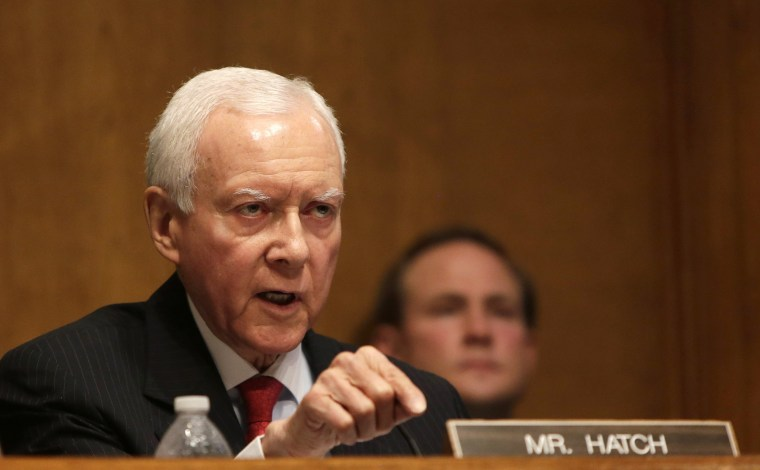 Image: Senator Hatch questions witnesses during testimony at the Senate Finance Committee in Washington