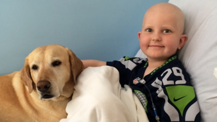 Pediatric cancer patient with a therapy dog.