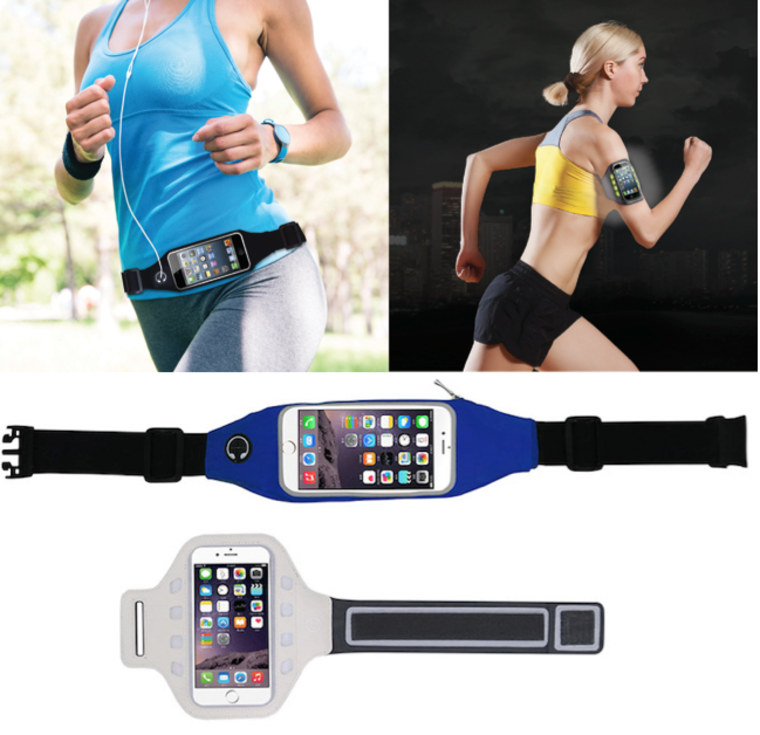LED Armband Light-Up Fitness Phone Holder & Fitness Belt Waist Band