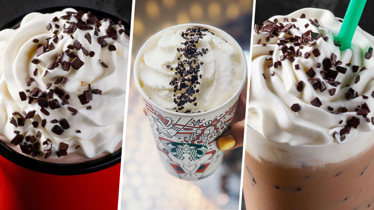 From left: Starbucks' Black and White Hot Cocoa, Black and White Mocha, and Black and White Frappuccino.