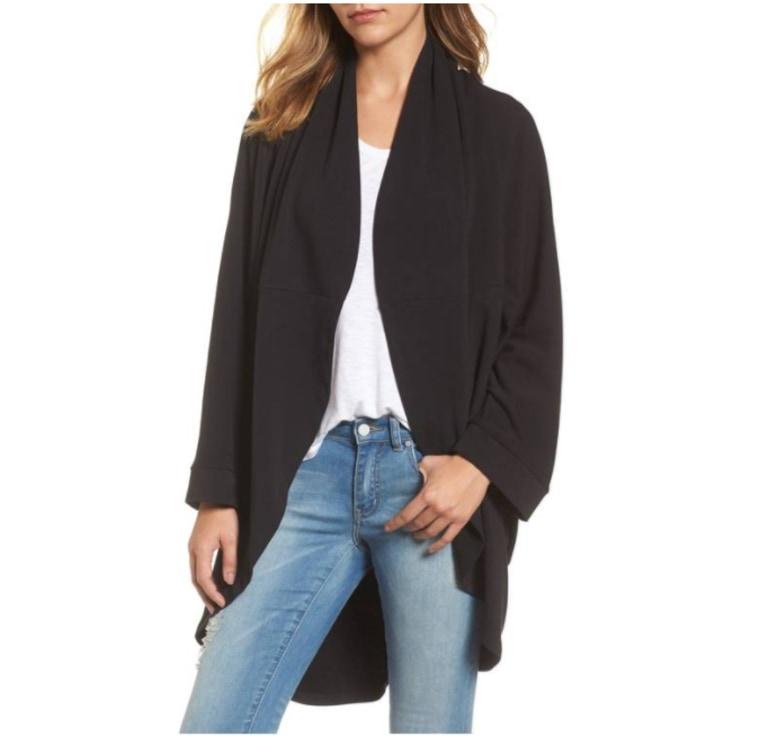 Cocoon knit cardigan in black