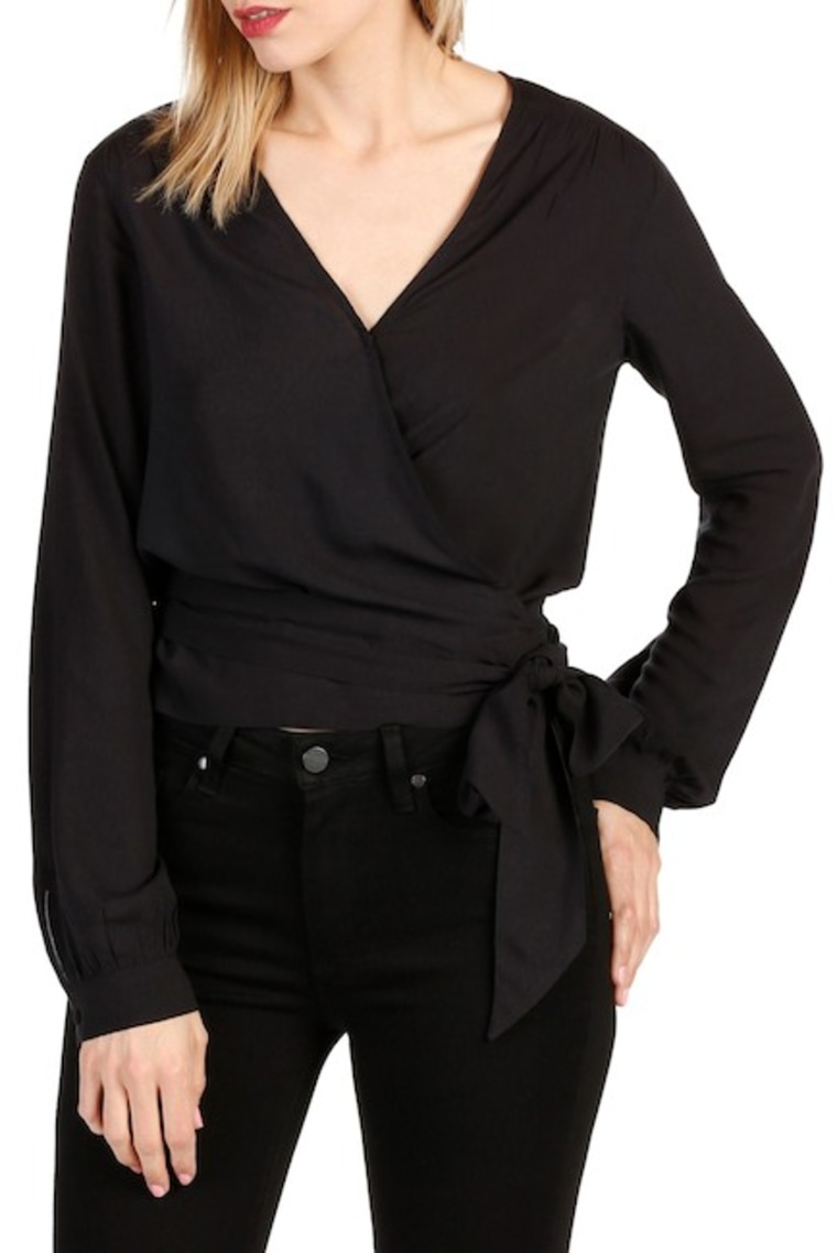 PAIGE Carlyn Wrap Blouse in Black