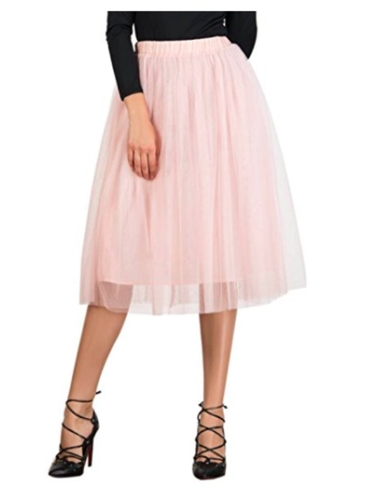 Joeoy Elastic Waist Band Ballet Skirt in Pink