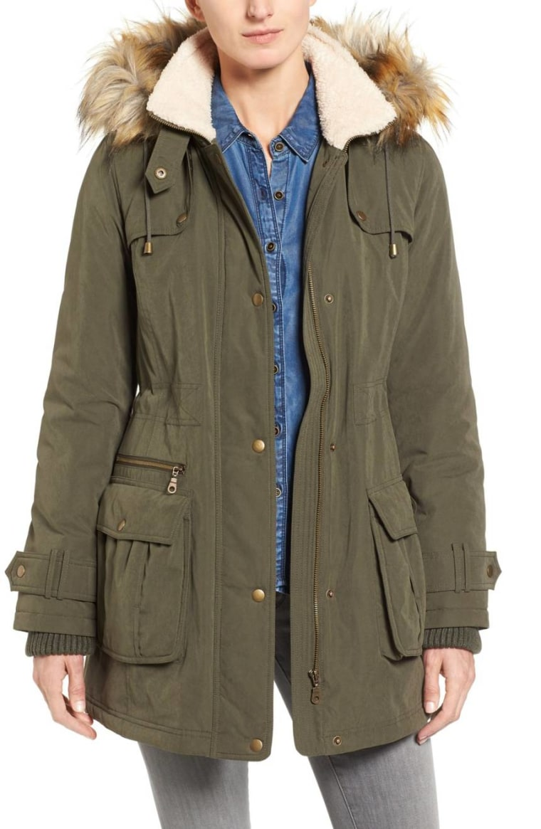 Halogen Hooded Anorak with Faux Fur Trim