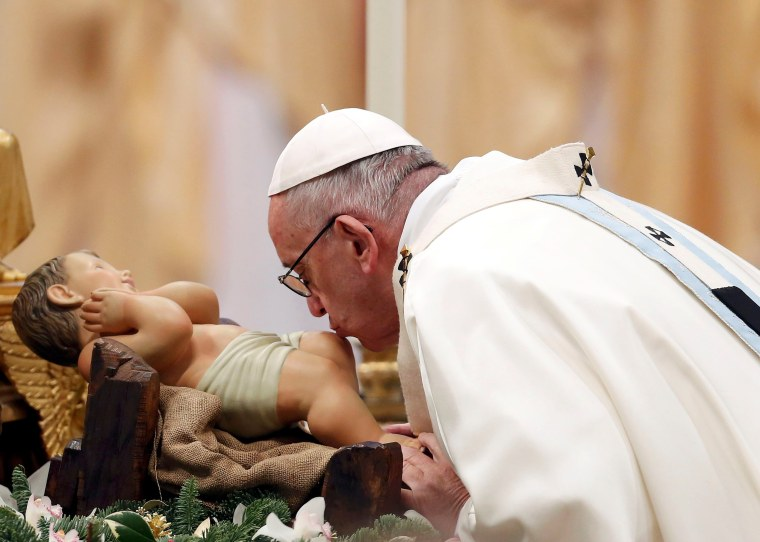 Image: Pope Francis leads a mass on New Year's Day at Saint Peter's Basilica at the Vatican
