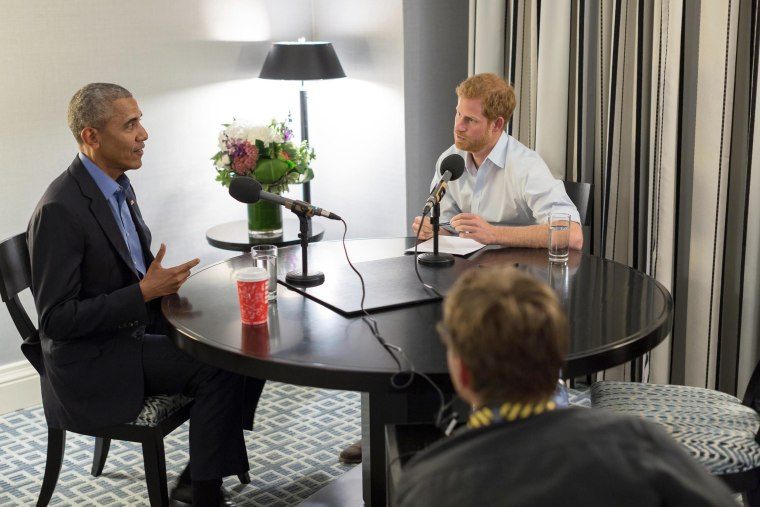 Image: Prince Harry interviews former U.S. President Barack Obama as part of his guest editorship of BBC Radio 4's Today program which is to be broadcast on Dec. 27, 2017.