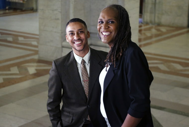 Image: Newly elected city council members Phillipe Cunningham, left ,and Andrea Jenkins pose after an interview
